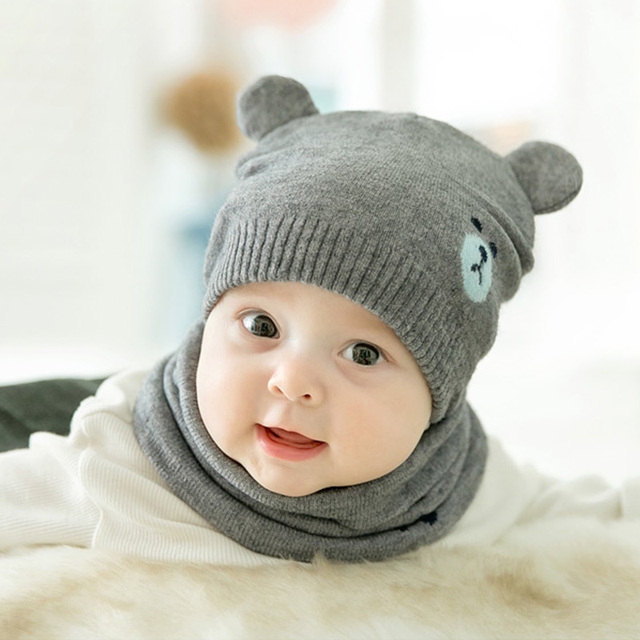 a28a3d2008faf8 DreamShining 2pcs/set Baby Knitted Warm Hats Cute Bear Cap Baby Protects  Caps with Ears