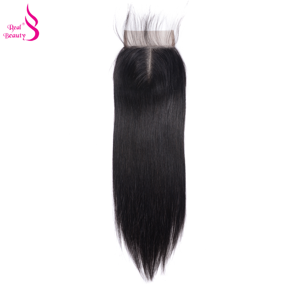 Real Beauty  Straight Hair Lace Closure Three/Free/Middle/ Part  4x4 inch Swiss Lace Closure 3
