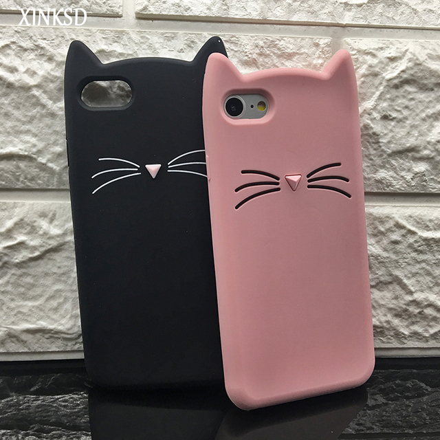 size 40 df74a cbc87 US $2.99 |3D Cute Cartoon Case for iPhone 8 Case Cat Dog Eyelash Unicorn  Glitter Stars Pink Silicone Cover Cases for Apple iphone 8 8plus-in Fitted  ...