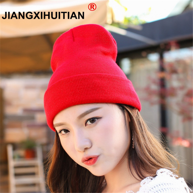 a3b694a1910 Hat Female Unisex Cotton Solid Warm Soft Hot HIP HOP Women s Knitted Winter  Hats For Men Women Caps Skullies Beanies Wholesale