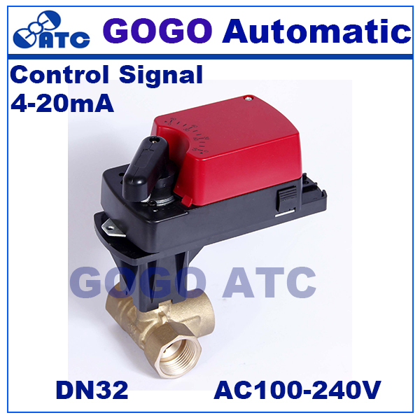 GOGO DN32 G11 4 6Nm 4 20mA control electric ball valve 3 way mixing flow proportional