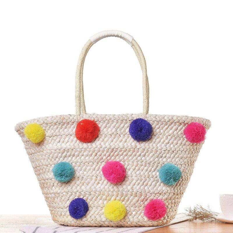 New Simple Fashion Straw Bag Colorful Ball Woolen Woven Leisure Beach Handbag Su