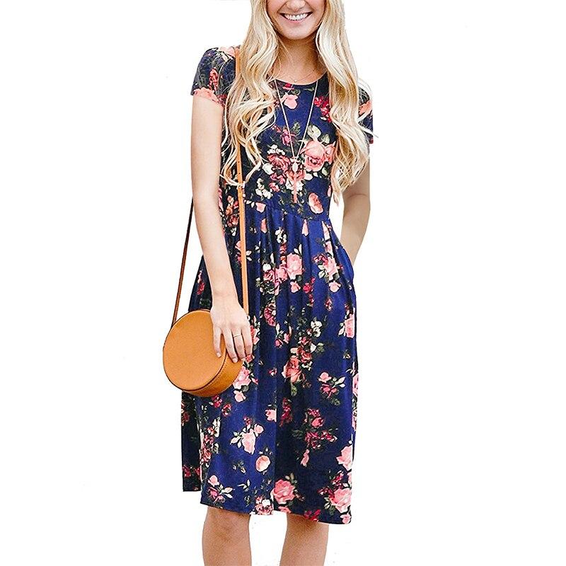 Женское летнее винтажное платье-миди с цветочным принтом, с коротким рукавом и круглым вырезом, повседневные платья, ретро пляжная вечеринк...