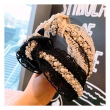 knot pearl hairband for women wedding bridal hair accessories black lace headbands ladies wide korean style 2019 hoop