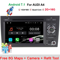 HD 1024*600 Android 7.1 4 core Car DVD PC Stereo Radio Player For AUDI A4 2002 2008 SEAT EXEO 2009 2012 GPS Navi WiFi Bluetooth