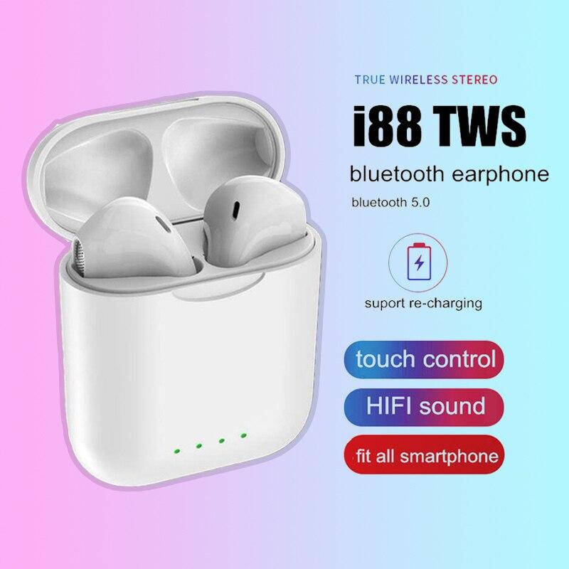 I88 tws fone de ouvido sem fio bluetooth 5.0 2019 mini controle toque estéreo mais hearest fones de ouvido na orelha pk i9s i10 tws para o telefone