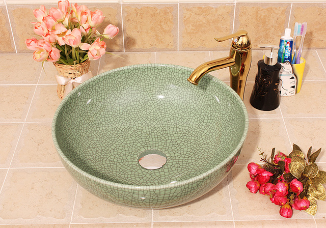 Crack Europe Vintage Style Ceramic Art Basin Sink Counter Top Wash Basin  Bathroom Vessel Sinks Vanities