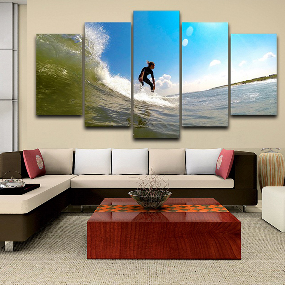 Framework Home HD Printed Decor Living Room 5 Panel Sea View Sports Surfing Art Painting Modular Canvas Poster Wall Pictures