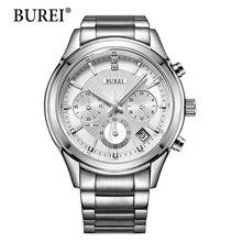 BUREI Nuevo Estilo Reloj Hombre Moda Multifunción Hombres de Acero Inoxidable Reloj de Pulsera de Lujo de Negocios de Cuarzo 2017 Venta Caliente