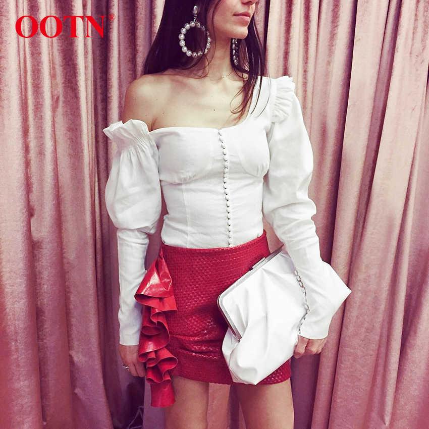 ecd563a4e11281 OOTN Women Asymmetrical Puff Long Sleeve Top Ruffle Tunic Blouses White  Shirt Female One Shoulder 2019