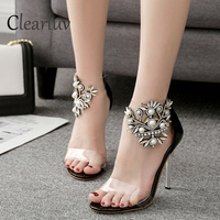 Women's Sandals High Heel Shoes Summer New Pearl Rhinestone Glasses Transparency Women's Pumps Ladies Shoes C0670