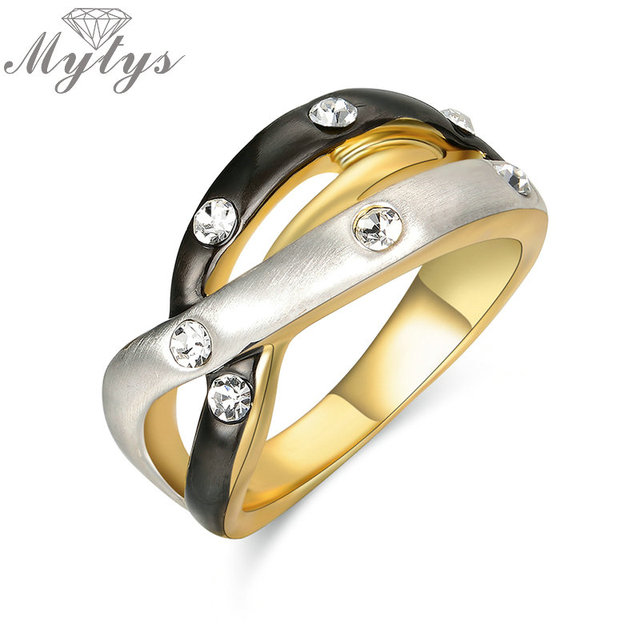 Mytys Gypsy Setting Crystal 3 Color Ring Black Gold and Silver
