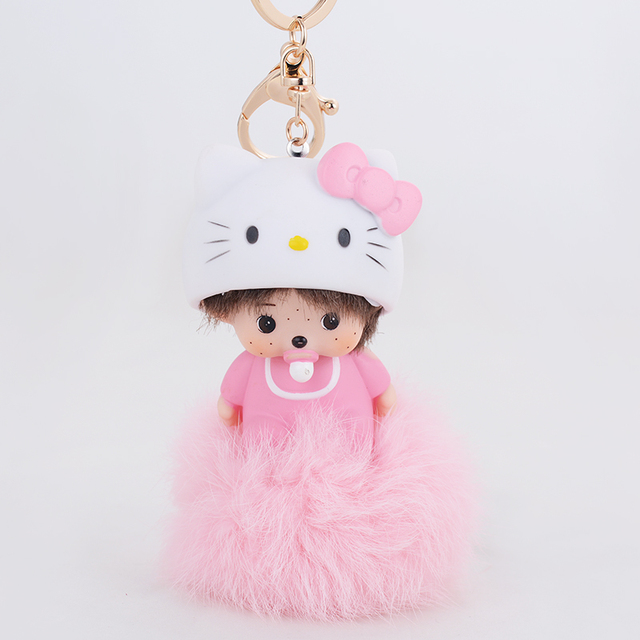 Pink Cat Hat Momchichi Doll Pendant Cut Babay Car Charms Wholesale Keychain rabbit fur ball keychain Keyrings for women girls