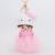 Pink Cat Momchichi muñeca colgante Cut Babay del coche venta al por mayor llavero bola de pelo de conejo llavero llaveros para para niñas