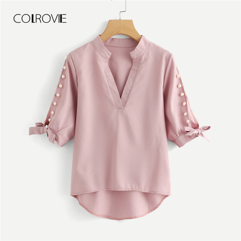 COLROVIE Plus Size Pink Workwear V neck Pearls Beaded Split   Blouse     Shirt   2018 New Solid Burgundy Elegant Women   Blouse   And Tops
