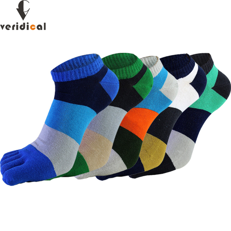 VERIDICAL 5 Pairs/lot Cotton Socks With Toes Mans Striped Summer Breathable Five Finger Socks Fashions Ankle Cool Socks Men