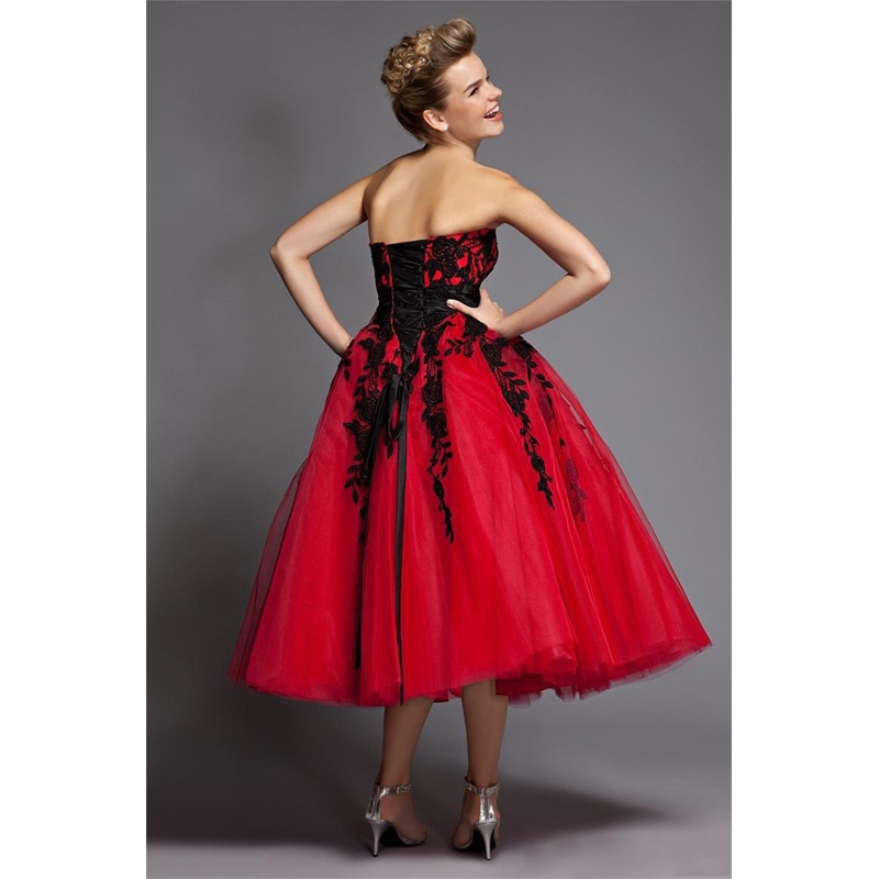 Black And Red Wedding Dresses Short Tulle Lace Mid Calf Sweetheart