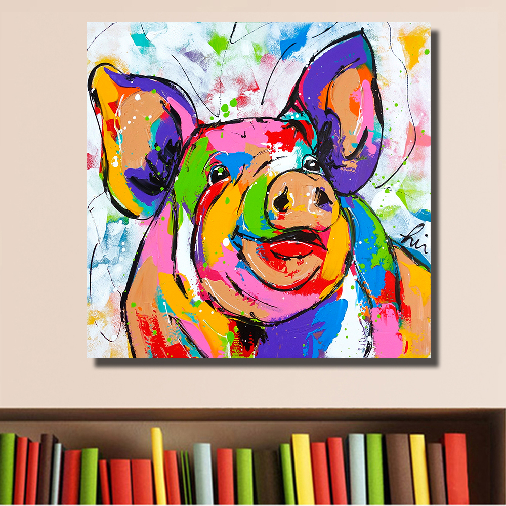 Hdartisan Wall Printing Colorful Pig Animal Graffiti Oil Painting Home Decor Wall Art Picture Living Room Painting No Frame In Painting Calligraphy From