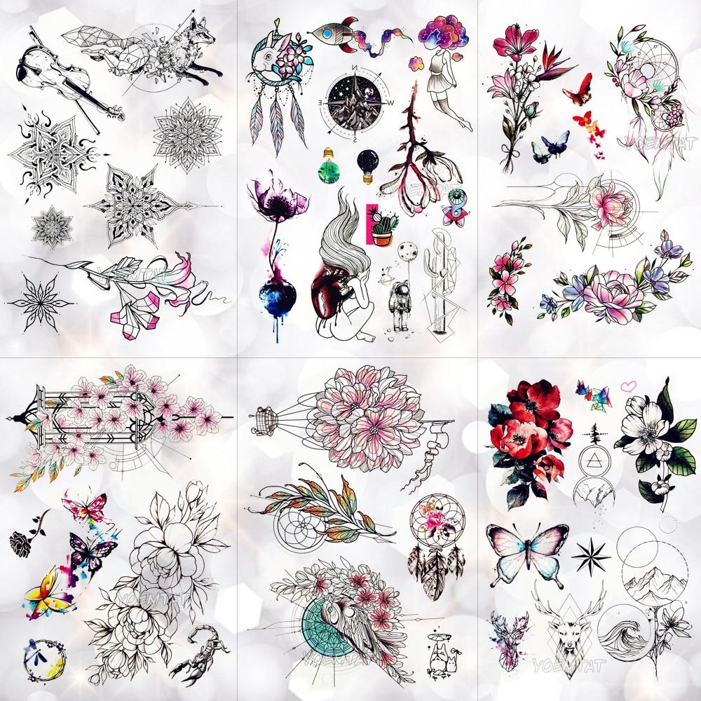 Geometric Lace Flowers Waterproof Temporary Tattoo Sticker Rabbit Dream Catcher Line Rose Flash Tattoos Body Art Arm Fake Tatoo