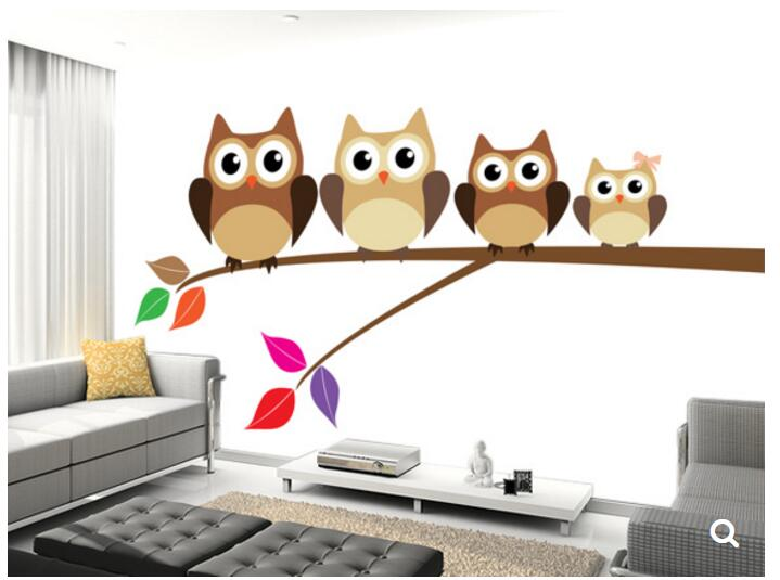 Custom papel de parede infantil,Owl Family, 3D cartoon mural for living room bedroom children's room wall waterproof wallpaper custom papel de parede infantil spiderman 3 d mural for bedroom of children room background wall silk cloth wallpaper