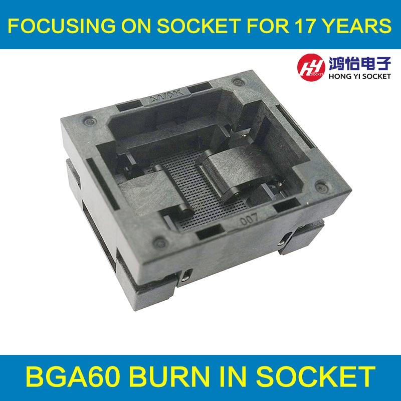 BGA60 OPEN TOP Burn in socket pitch 0.8mm IC size 8*10mm BGA60(8*10)-0.8-TP02/50N BGA60 VFBGA60 burn in programmer socket bga81 open top burn in socket pitch 1 0mm ic size 14 18mm bga81 14 18 1 0 tp02 50n bga81 vfbga81 burn in programmer socket