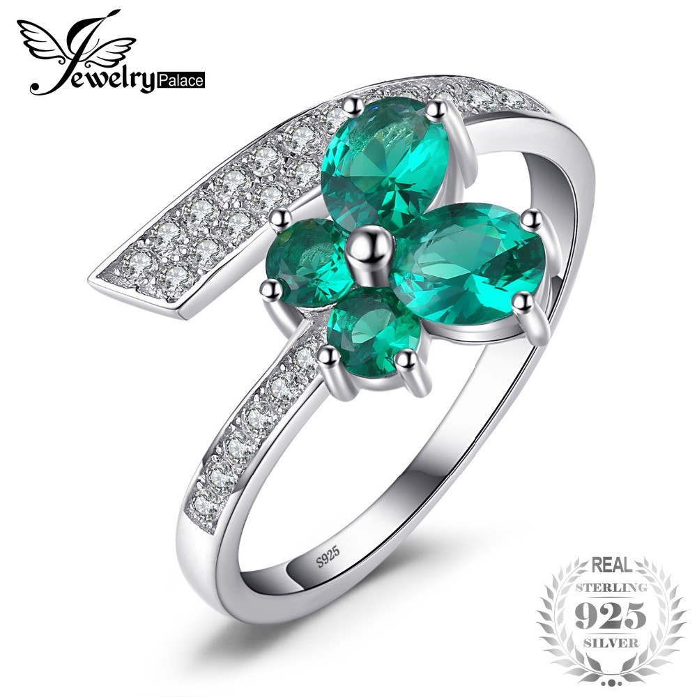 JewelryPalace Butterfly 1ct Created Emerald Ring 925 Sterling Silver Jewelry for Women Fashion Jewelry Elegant Gift Hot Selling jewelrypalace butterfly 3 7ct created emerald bangle bracelet 925 sterling silver fashion fashion jewelry for women 2018 new