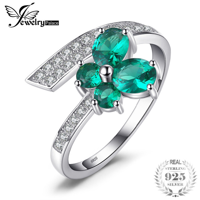 JewelryPalace Butterfly 1ct Created Emerald Ring 925 Sterling Silver Jewelry for