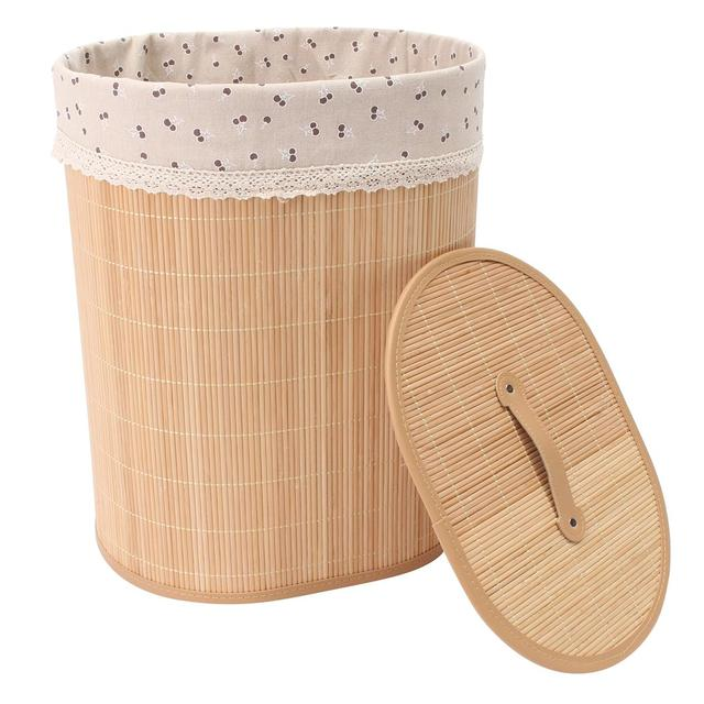 S/L Bamboo Laundry Baskets Hamper With Lid Liner Cloth Clothes Toys  Sundries Storage Bag