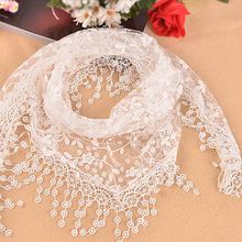 Women Fashion Triangle Wrap Lady Shawl Lace Sheer Floral Print Scarf Sc