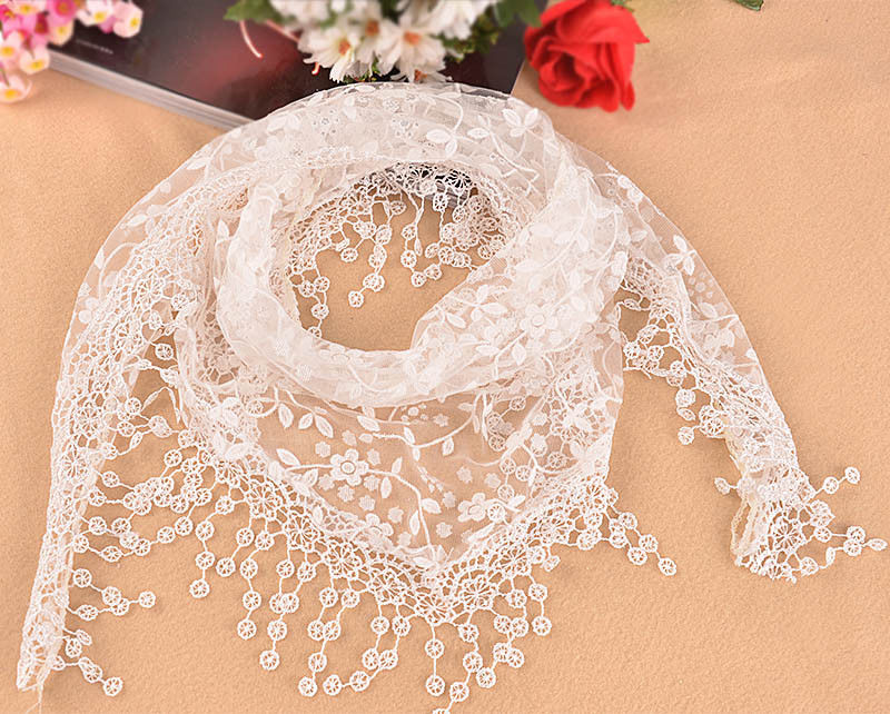 Women Fashion Triangle   Wrap   Lady Shawl Lace Sheer Floral Print   Scarf     Scarves   US