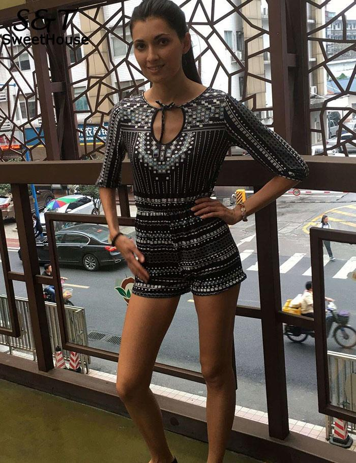 Sexy Retro Deep V Neck Striped Women Jumpsuit Casual Shorts Playsuit