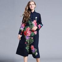 Chiński styl Kobiety jesień wykop kwiat haft długi casual trench coat vintage cotton linen trench coat plus rozmiar 8851