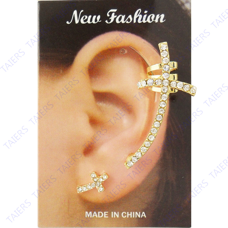 Left ear cuff Special Earring Cross post clip fashion jewelry Wholesale ear plug free shipping USA ePacket CPAM 10 pieceslot