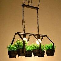 Modern Simple Wooden E27 Holder Led Pendant Lamps 3 Kinds Wrought Iron Plant Pot Bar Restaurant