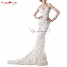 KapokBanyan Long Sleeves Court Train Wedding Dress