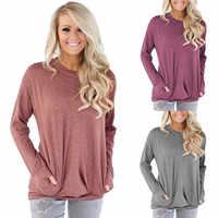 2019 automne à manches longues o-cou poches décontracté T chemises de grande taille 3XL femmes chemise t-shirt hiver femme lâche couleur unie t-shirt haut