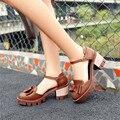 Asual женские летние сандалии 2016 женская обувь толстый каблук римских женской обуви сандалии с открытым носком обуви большой размер 34 - 43