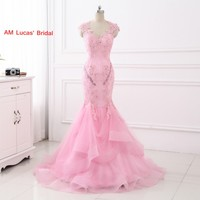 Nuevo vestido de noche de sirena espalda abierta apliques mujeres formal vestido para boda prom Vestidos robe de Soiree