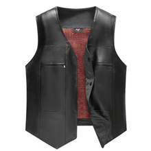 New Fashion Black Men PU Leather Fleece Vest Large Size Autumn Winter Middle-aged Fashion Men's Loaded Fleece Vest Coat