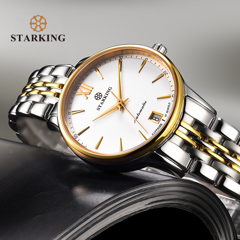 STARKING Watches Women Fashion Watch 2018 Stainless Steel Automatic Mechanial Wristwatches Elegant Female Golden Ladies WatchSTARKING Watches Women Fashion Watch 2018 Stainless Steel Automatic Mechanial Wristwatches Elegant Female Golden Ladies Watch