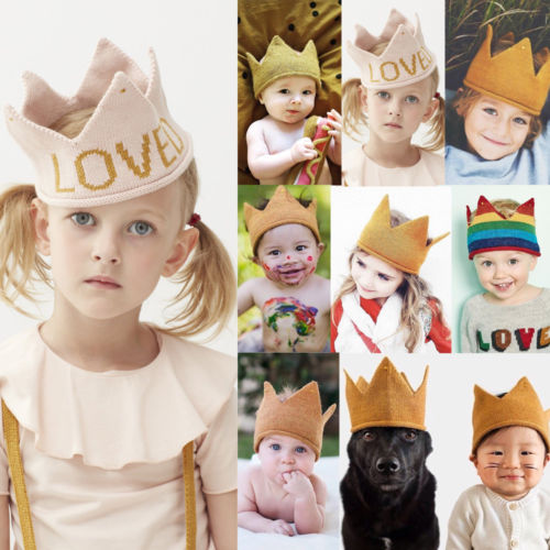 Princess Baby Boys Girl Crown Hats Baby Boy Girls Knitted Crochet Birthday Day Party Warm Beanies Cap Hats 0-7Y