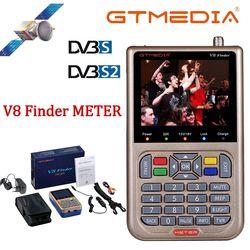 GT медиа/Freesat V8 искатель метр DVB-S2/S2X цифровой спутниковый искатель Высокое разрешение спутниковый искатель спутниковый измеритель Satfinder 1080P