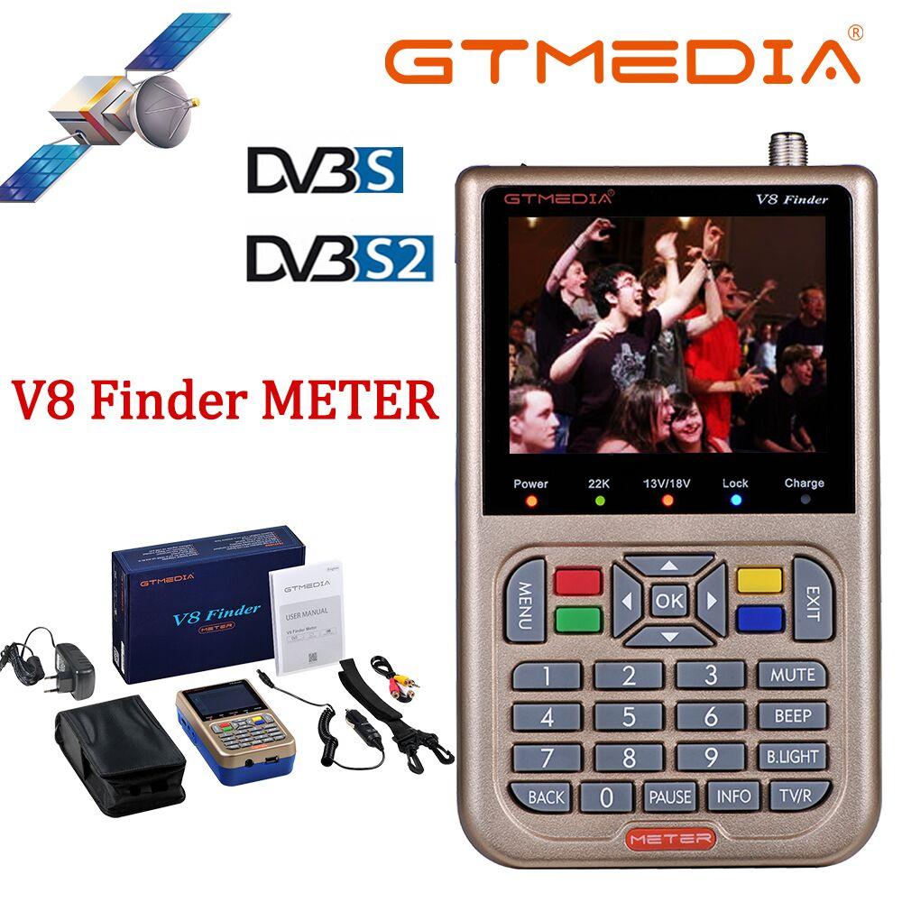 GT MEDIA/Freesat V8 Finder Meter DVB-S2/S2X Digital Satellite Finder de alta definición 1080P