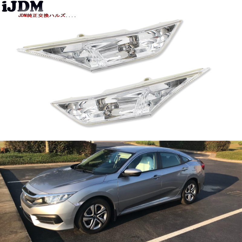 (2) Left & Right OEM JDM Clear Side Marker Lamp Lens For 2016-up 10th Gen Honda Civic Sedan/Coupe/Hatchback