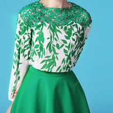2017 NEW Spring/Autumn/Summer Cutout Crocheted Lace Embroidery Shirt O-Neck Green Leaf Print Sexy Women's Chiffon Blouse
