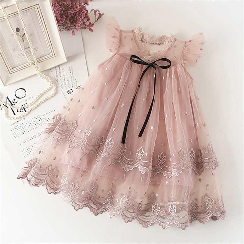 Baby Girl Floral Lace Mesh Princess Tutu Dress Children Hollow Out Wedding Christening Gown Dress For Kids Party Wear Vestidos