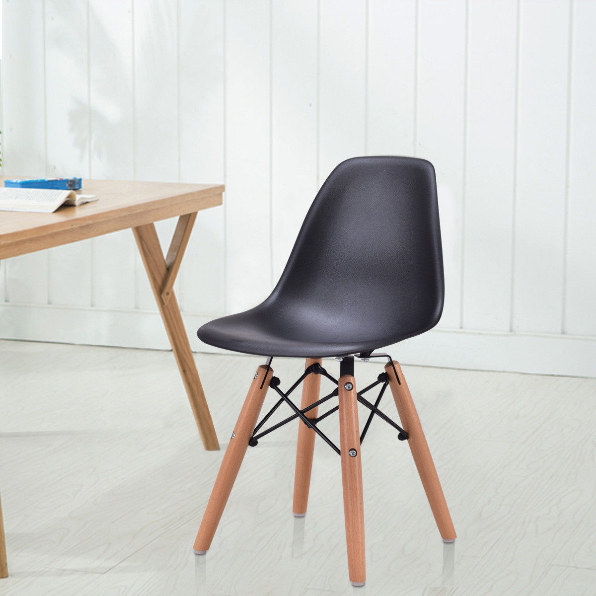 Giantex Modern Kids Dining Chair Children Side Armless Chair Molded Plastic Seat Wood Legs Children Furniture HW56499BK