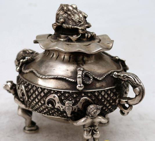 Antique vieux cense de la dynastie qing, brûleur d'encens de crapaud d'or, artisanat, meilleure collection et parure, livraison gratuite