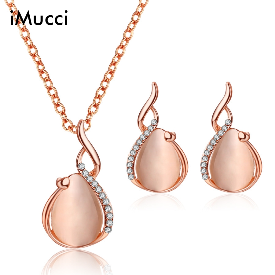 iMucci Luxury Water Drop Cat Eye StoneJewelry Sets For Women Elegant Necklace Earrings Anniversary Jewelry Gift For Lover