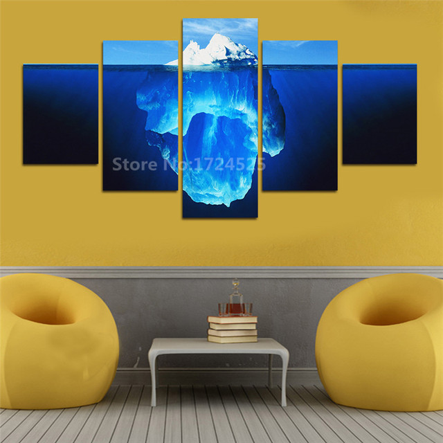 Unframed 5 Pcs Tip Of The Iceberg Canvas Painting Wall Art Home ...